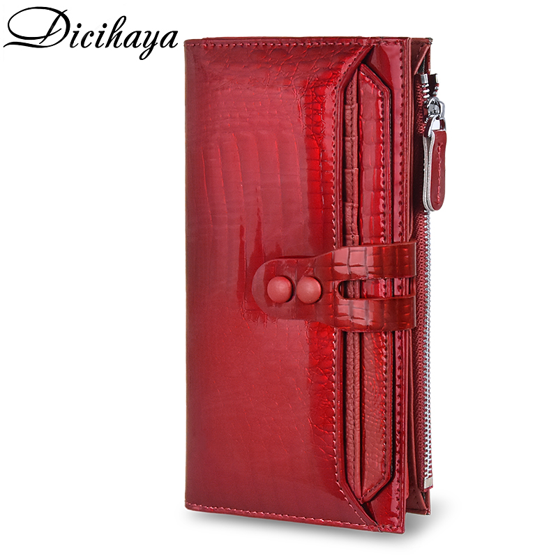DICIHAYA NEW Genuine Leather Women's Wallet Alligator Long Hasp Zipper Wallet Ladies Clutch Bag Purse Female Luxury Coin Purses