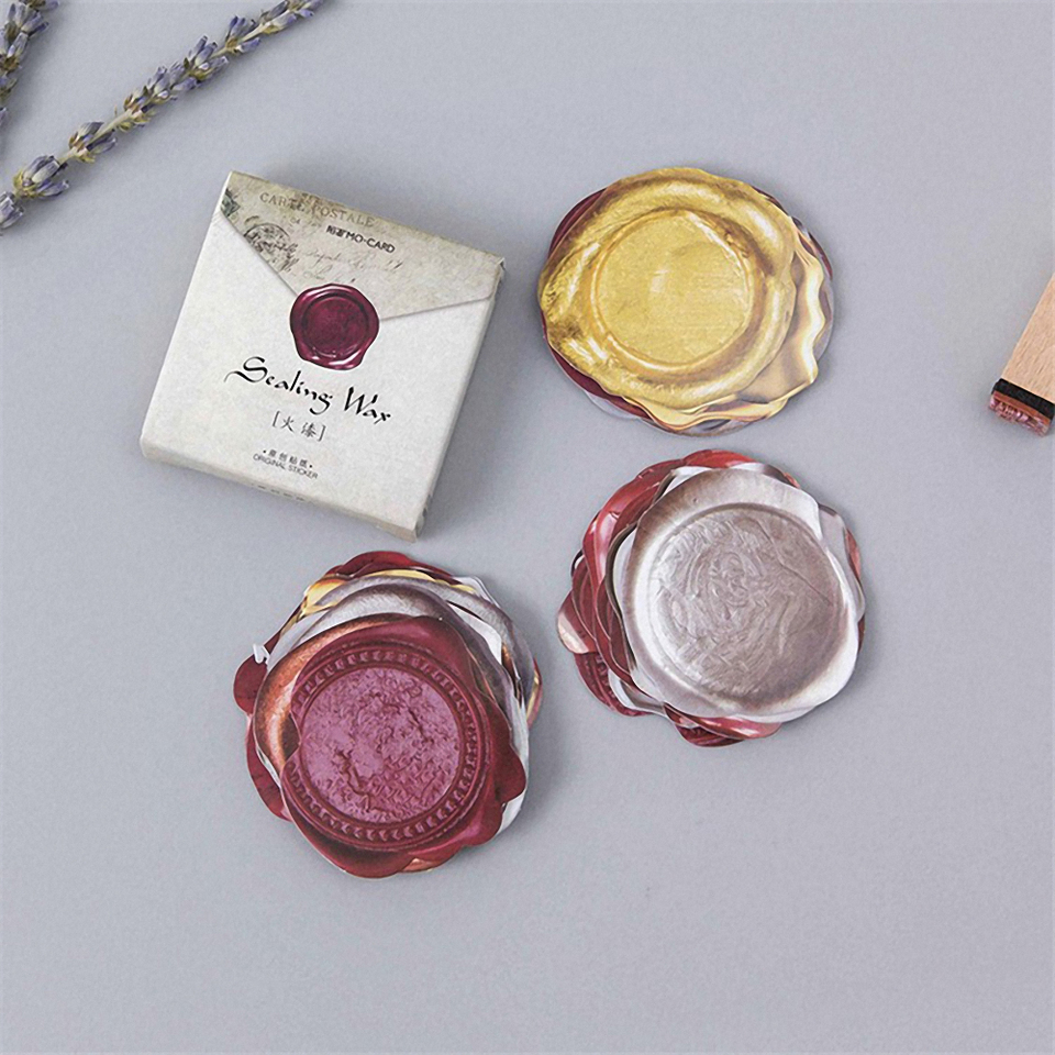 45pcs Retro Wax Seal Design Sticker lot Sealing Wax Tags For Craft Diary Scrapbook Album Wax Seal Stickers Unique Stickers Free Shipping