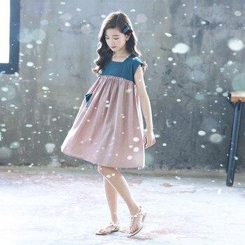 ¡Novedad de 2020! Vestido de princesa para Bebé Vestidos infantiles para niñas, vestido de verano elegante de algodón para niños pequeños, vestido plisado de retazos, #5600