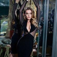 Женское Новое сексуальное прозрачное Сетчатое лоскутное черное платье с глубоким v-образным вырезом весенние женские вечерние мини платья с длинным рукавом для ночного клуба