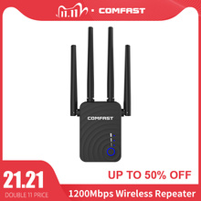 Comrápido extensor de wifi sem fio 1200mbps, extensor wifi repetidor/roteador banda dupla 2.4 & 5.8ghz 4 antena de wi fi amplificador de sinal de longo alcance
