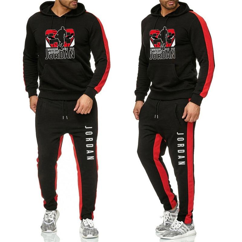 New Tracksuit Zipper Hoodie Cardigan+Sweat Pants Brand Hooded Men Casual Cotton Fall/Winter Warm Workout Sweatshirts Sportswear