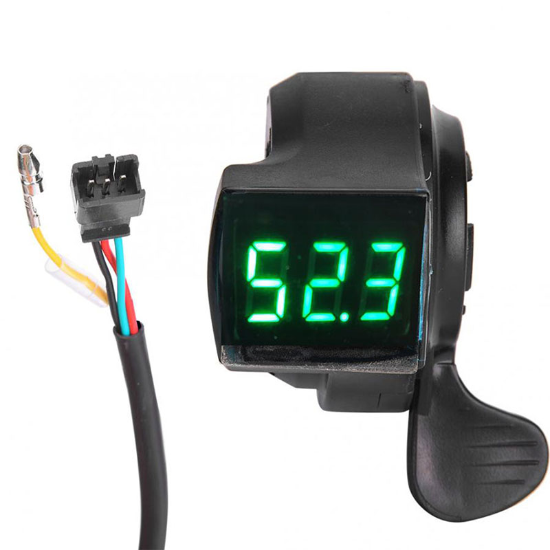 E-Bike Thumb Throttle LCD Digital Battery Voltage Display Switch Electric Vehicle Display Switch Handle Finger Thumb Throttle