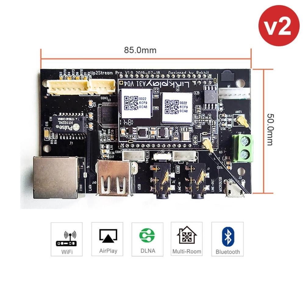 Up2Stream Pro WiFi And Bluetooth 5.0 HiFi Audio Receiver Board With Spotify Airplay Dlna Internet Radio And Streaming Music.