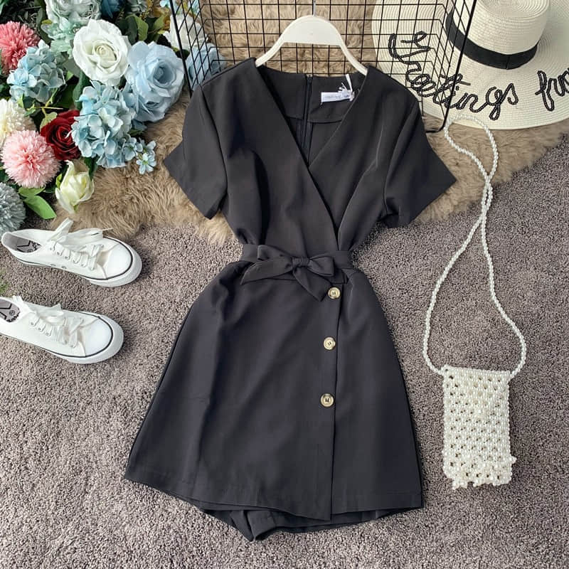 H32271deec7d34ef2ae26ebf780ad1a9di - Candy Color Elegant Jumpsuit Women Summer Latest Style Double Ruffles Slash Neck Rompers Womens Jumpsuit Short Playsuit