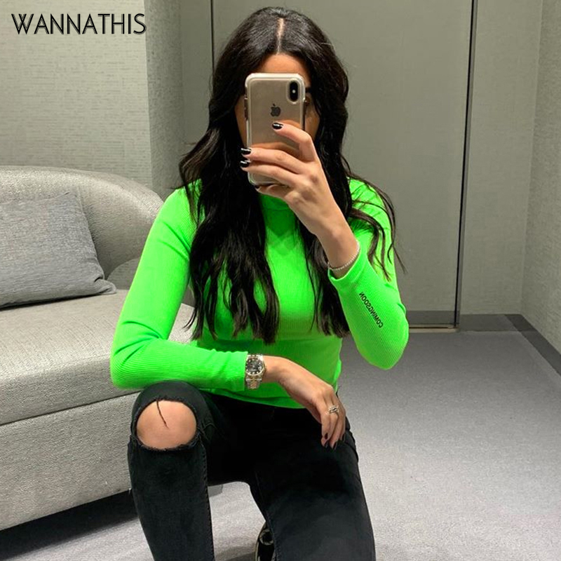 WannaThis Neon Color Autumn 2019 Ribbed T Shirt Women Long Sleeve Turtleneck Tshirt Fashion Casual Solid Knitted Tops Tee Femme