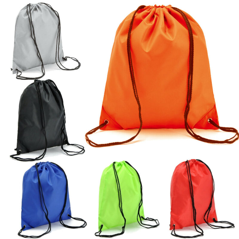 Colorblock Drawstring Bags Cinch Sack School Tote Gym Bag Sport Pack Waterproof Shopping Sport School Travel Storage Organizer