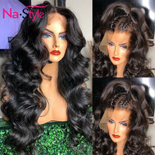 Объемная волна Синтетические волосы на кружеве парик для черных Для женщин 13x4 250 плотности парик шнурка высокой плотности парики из натурал...