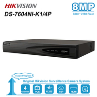 HIK 4CH PoE NVR DS 7604NI K1/4P 4 Channel Embedded Plug Play 4K NVR with 4 PoE Ports for IP Camera CCTV System