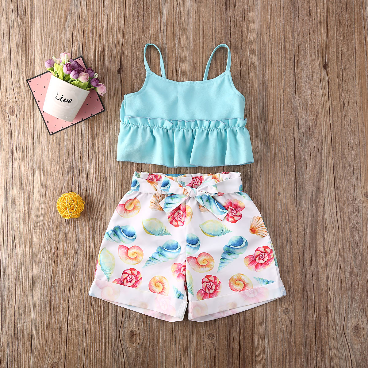 Pudcoco Toddler Baby Girl Clothes Solid Color Strap Ruffle Tops Shell Print Short Pants 2Pcs Outfits Cotton Clothes Causal Set