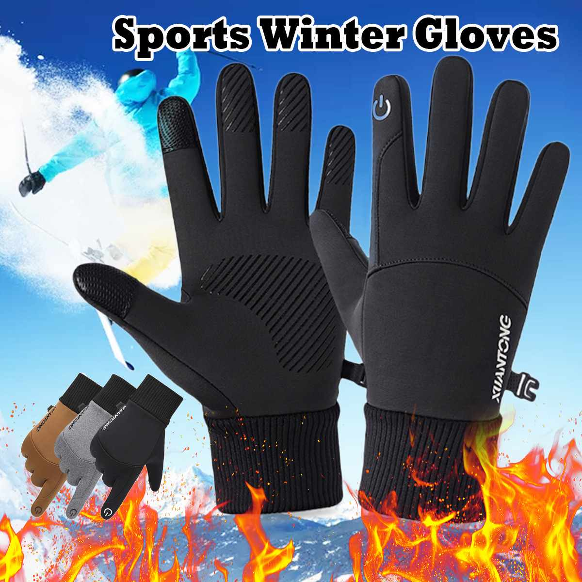 Winter Warm Thermal Gloves Ski Snow Snowboard Gloves Cycling Touchscreen Waterproof Winter Gloves For Men Women
