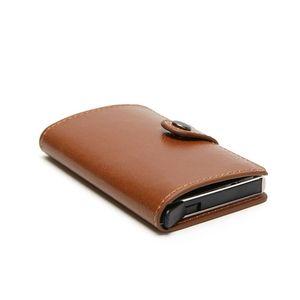 Мужской кошелек из искусственной кожи, Алюминиевый задний карман, держатель для id карты, блокировка RFID, мини волшебный кошелек, автоматичес...