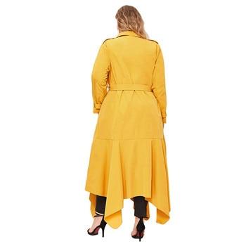 Women's Plus Size Solid Long Trench Coat Double-Breasted Irregular Big Hem Coat Cardigan woman doudoune femme hiver 2020 E1