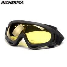 Yellow Night Vision Motorcycle Glasses Eyes Protective Ski Goggles Retro Motocross Glasses Snowboard Snowmobile Dirt Bike ATV