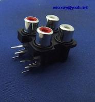 DHL/EMS 200PCS 6 pin Tomada RCA Cobre Vermelho branco jack para AV Amplificador de Montagem em Painel CCTV A7|null| |  -