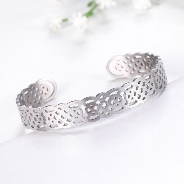 Bracelets manchette Viking Lemegeton noeud irlandais Bracelet noeud celtique hommes femmes amulette bijoux Talisman Bracelet acier inoxydable (Copie) 4