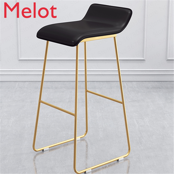 New Nordic Bar Stools Cafe Lounge Stool Simple Bar Stool Designer Wrought Iron Gold High Chair Padded Bar Chair waterproof led bar stool bar chair bar stools modern remote control light color modify free shipping