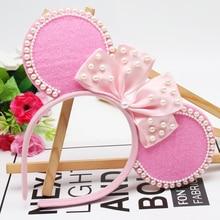 Oaoleer Hair Accessories Baby Pink Ears Headband for Girls Felt Hairband with Pearls Satin Bowknot Headbands Handmade Head Hoop