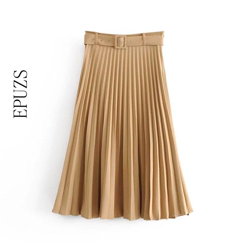 Winter High Waist Pleated Skirts Woemns Long Skirt Casual Office Work Belt Black Skirt Korean Maxi Plissee Skirt 2019