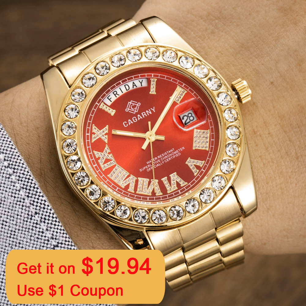 Luxury Crystal Diamond Gold Watch Men Quartz Stainless Steel Men Watches Calendar Date Week Waterproof Top Brand Wristwatch MaleQuartz Watches   -