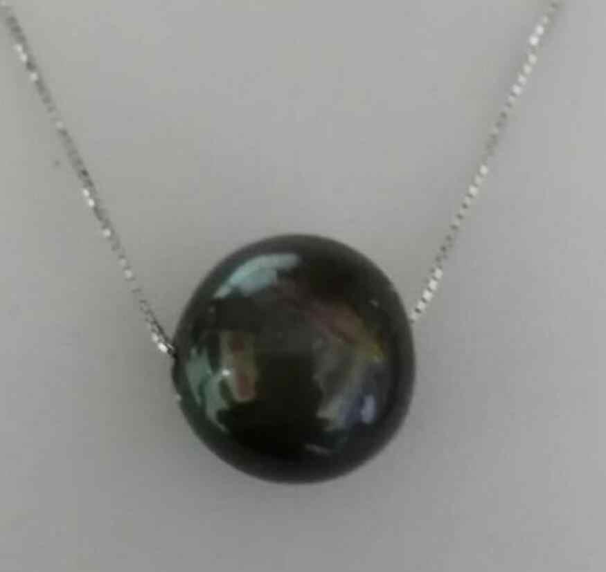 Schmuck Perle Halskette riesige 12mm natürliche tahitian schwarze perle anhänger halskette 18inch 925 silber kette Freies Verschiffen