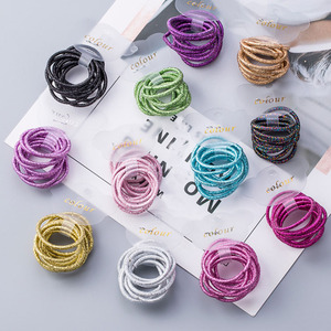 10 PCS/Set Hot Sparking Color Cute Lovely Girls Children Hair Rope Elastic Hair Bands Fashion Simple Hair Rope for kids and girl
