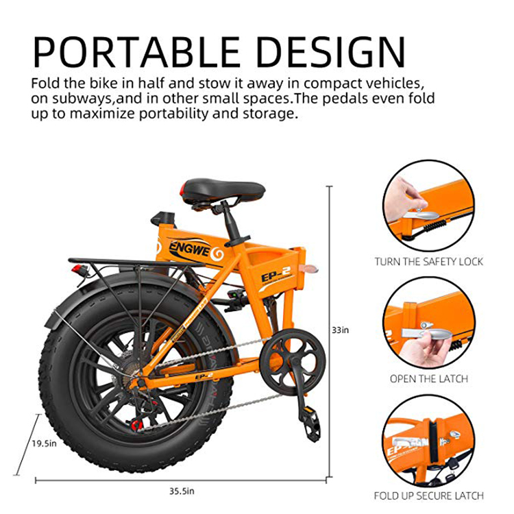 Electric bike 20*4.0inch Aluminum Foldable electric Bicycle 48V12A 500W 38KM/H 7Speed Powerful Fat Tire bike Mountain snow ebike 3