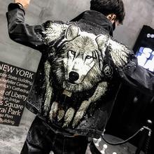 Мужская джинсовая куртка YASUGUOJI, черные джинсы с заклепками и вышивкой волка в стиле панк, 2019
