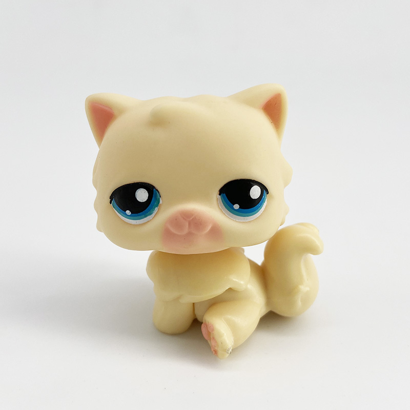 LPS Pet Shop Toys Original Animal PERSIAN YELLOW Cat Cute Kitty With Green Eyes Lovely Anime Toys For Kids