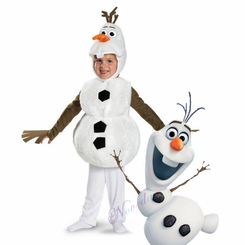 New Child Froz 2 Olaf Halloween Carnival Costume For Toddler Baby Kids Favorite Cartoon Movie Snowman Party Dress