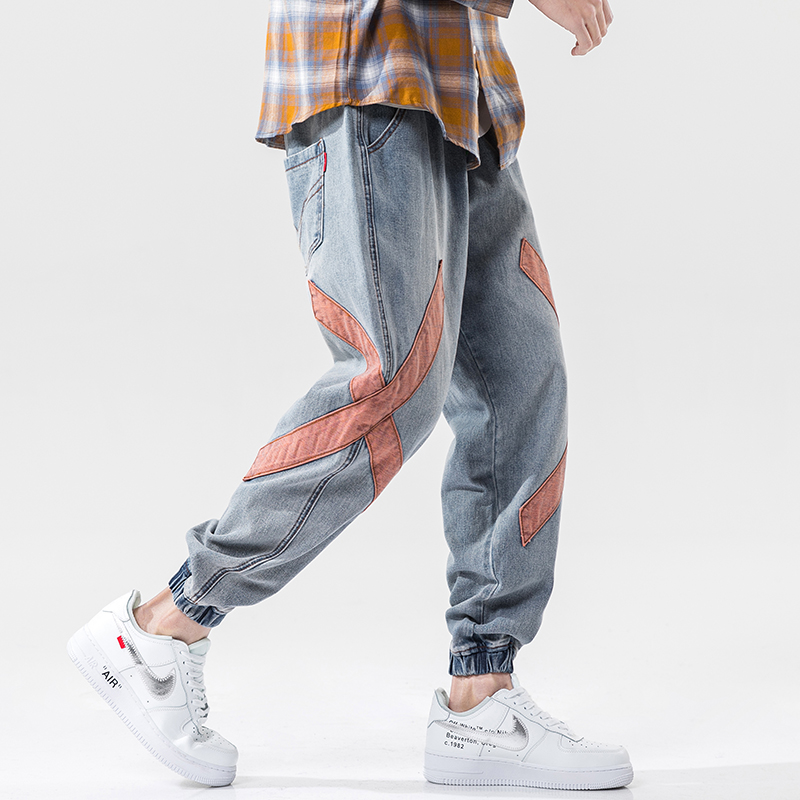 IiDossan High Quality Red Criss Cross Printed Jeans For Men Fit Classic Pants Male Female Denim HipHop Jeans Streetwear Trousers