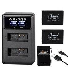 Mamen 1900MAh 충전식 LP E12 LPE12 LP E12 디지털 카메라 배터리 + LCD USB 충전기 캐논 100D 키스 X7 반란군 SL1 M10 M50