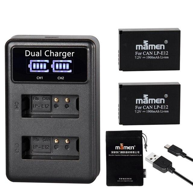 Mamen 1900MAh قابلة للشحن LP E12 LPE12 LP E12 كاميرا رقمية البطارية + LCD شاحن يو اس بي لكانون 100D قبلة X7 المتمردين SL1 M10 M50