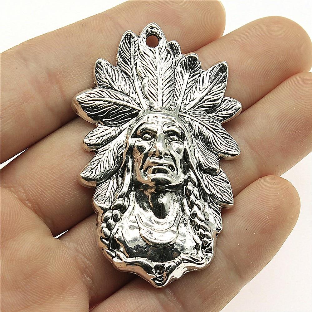 WYSIWYG 1 Uds 58x35mm colgantes de encanto de jefe indio para hacer joyas colgantes de jefe indio encanto