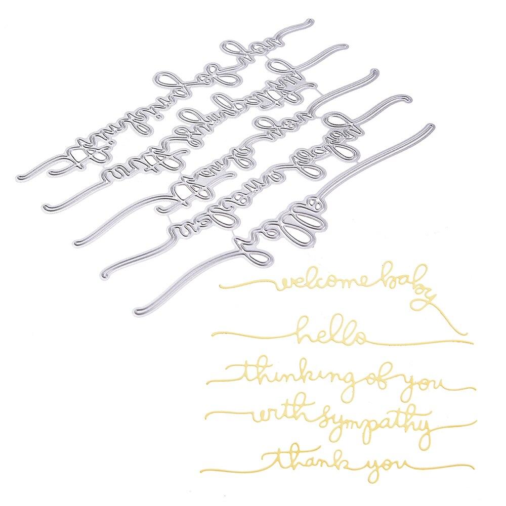 Metal Cutting Dies Photo Greeting Card Making Dies Scrapbooking Creative Words Stencils Die Cuts Album Paper Art Card Embossing