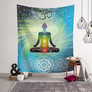 Image 3 - 200cm Polyester Bohemian 7 Chakra Tapestry Wall Hanging Cloth Bedspread Dorm Cover Home Decorative Rug Picnic Mat Beach Towel