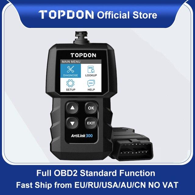 Topdon ماسح ضوئي للسيارة AL300 ، أداة تشخيص السيارة ، قارئ رمز OBDII ، ماسح ضوئي لضوء المحرك ، PK CR319 ELM327 ، OBD2