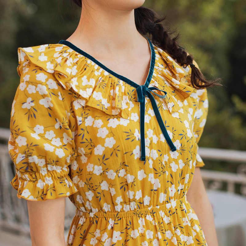 INMAN 2020 Sommer Neue Ankunft Literarischen Falbala V-ausschnitt Floral Erstickt Taille Kleid