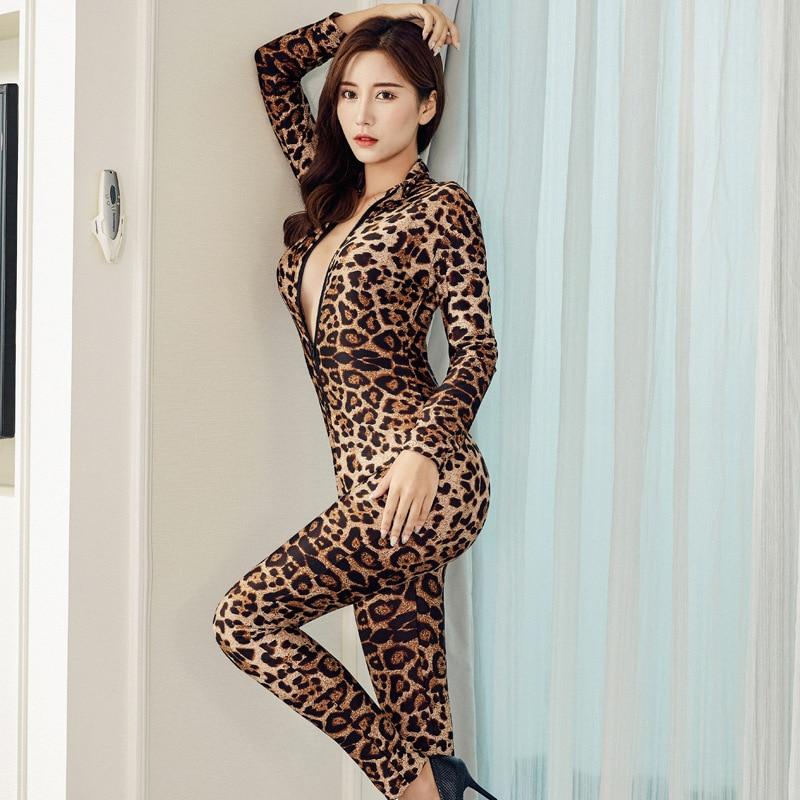 Leopard Sexy Bodycon   Jumpsuit   Romper Long Sleeve Bodysuit Women 2 Zipper V Neck   Jumpsuit   Elegant Full Length Polyester   Jumpsuit