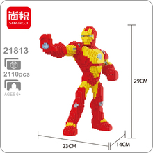Shangji 21811 Marvel Avengers Iron Man Super Hero DIY 3D Model Diamond Mini Building Small Blocks Bricks Toy for Children no Box