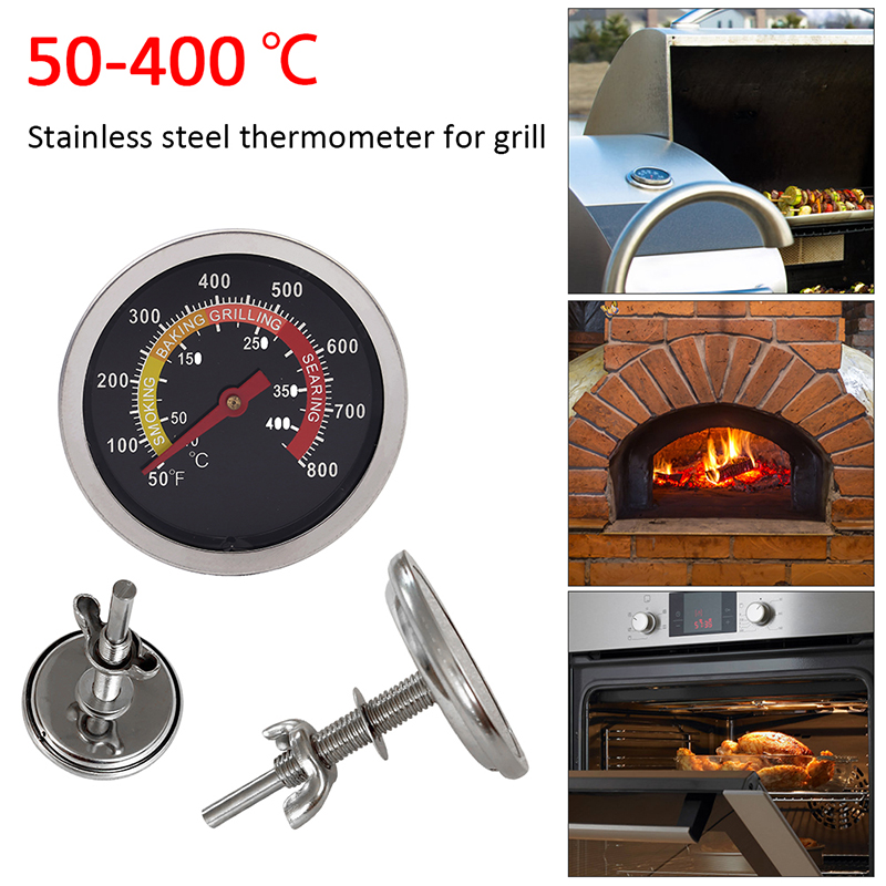 50-400℃ New Stainless Steel BBQ Smoker Grill Thermometer Temperature Gauge 10-400Degrees Celsius Household Thermometers
