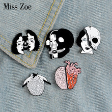 Divided Faces Enamel Pin Organ Brain Heart Brooches Backpack Clothes Lapel Pin Halloween Badge Punk Jewelry Gift for Friends(China)