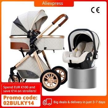 Carrinho de bebê de luxo 3 em 1, carrinho de bebê dobrável de couro com moldura de alumínio da paisagem de alta qualidade com presentes para carrinho de bebê 1