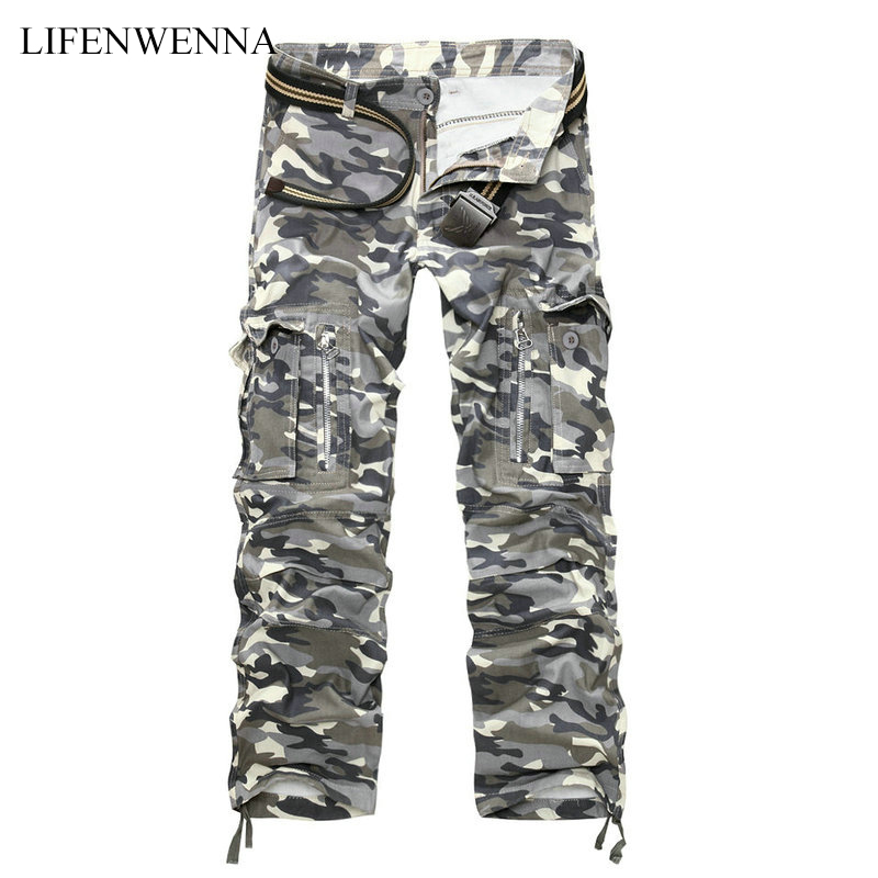 LIFENWENNA 2019 New Camouflage Military Cargo Pants Men Tactical Casual Cotton Casual Multi-pocket Trousers Men Pantalon Hombre