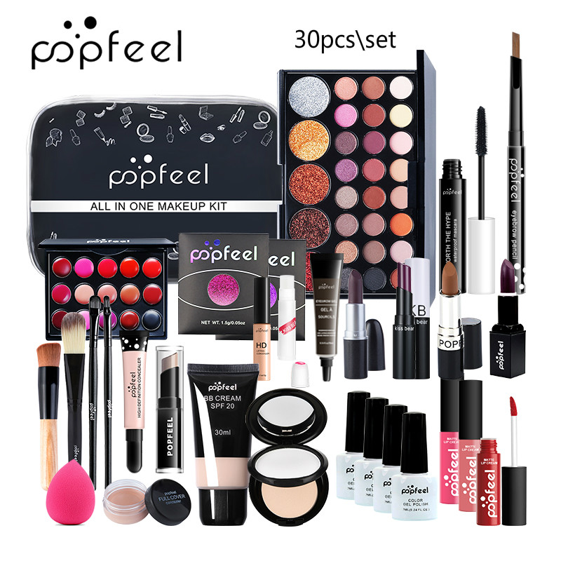 30Pcs MakeUp Sets Cosmetics Kit Matte Eyeshadow Matte Lipstick Eyebrow Pencil Lip Gloss Powder Puff Makeup Brush With Makeup Bag