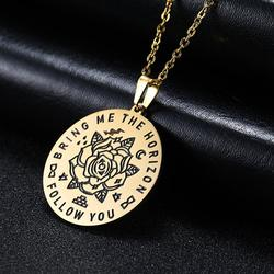 Skyrim Flower Round Pendant Necklace Follow You Bring Me to the Horizon Stainless Steel Golden Choker Chain Necklaces Jewelry