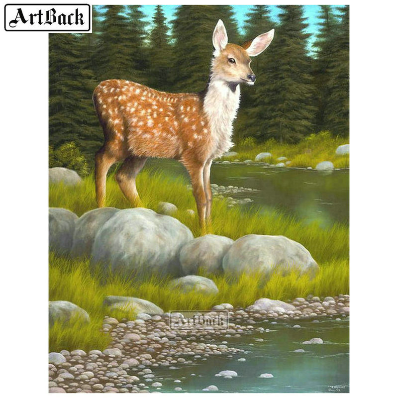 5d diamond painting deer cross stitch full square & round animal handmade mosaic canvas art diy resin embroidery crafts image