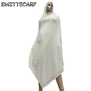 Image 4 - 100% Sciarpa di Cotone Morbido KASHKHA Sciarpa per gli Afro Donne Musulmane Dubai Pregate Grandi Scialli con strass BM828