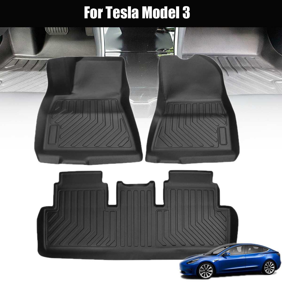Audew pour Tesla modèle 3 TPO avant et arrière noir 3 pièces tapis de sol de voiture personnalisé adapté à tous les temps tapis de sol couverture imperméable à l'eau Durable