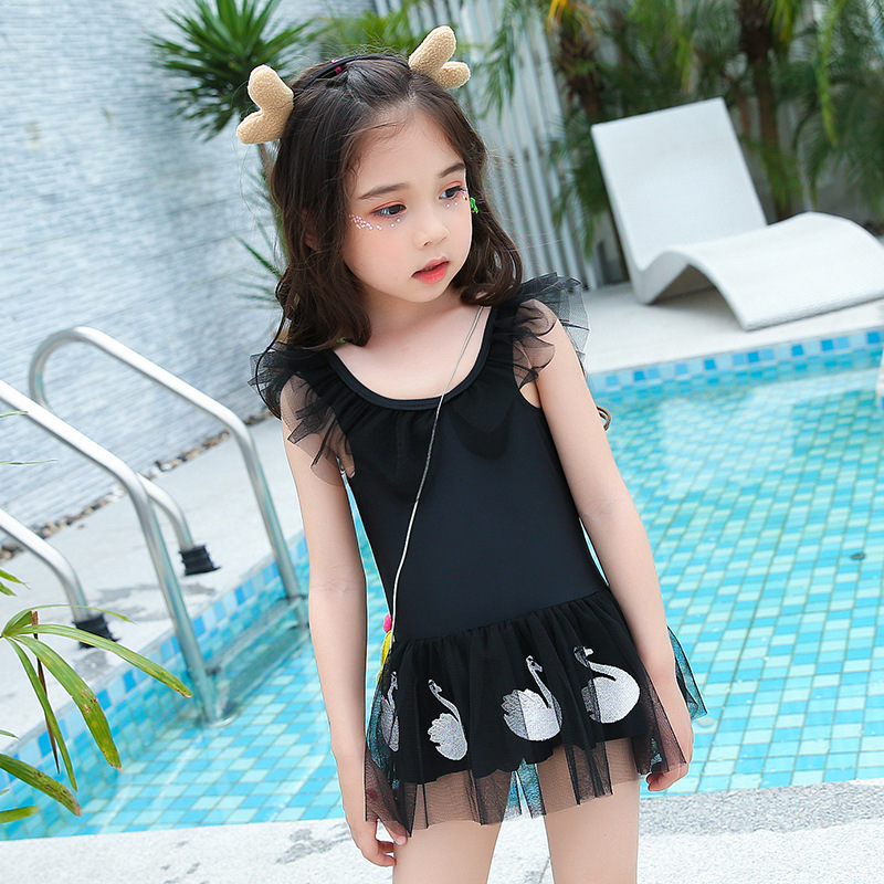 2018 New Style GIRL'S One-piece Swimming Suit Cute Lace Swan Costume KID'S Swimwear Children Baby Bathing Suit